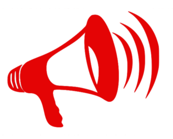 Red Megaphone Icon Indicating Important Announcement.