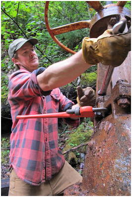 Sam Perry, building sweat equity at Burton Creek Hydro