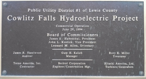 Cowlitz Falls Project Commemorative Placard