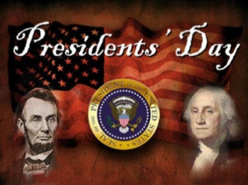 President's Day seal and flag and past president's faces
