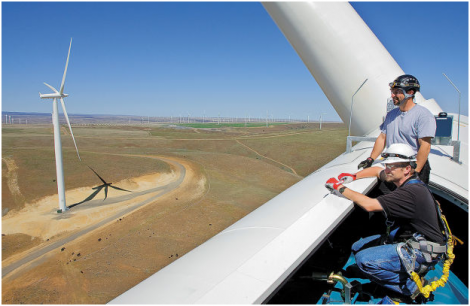 View from atop a White Creek Wind turbine, (courtesy of Cowlitz PUD)
